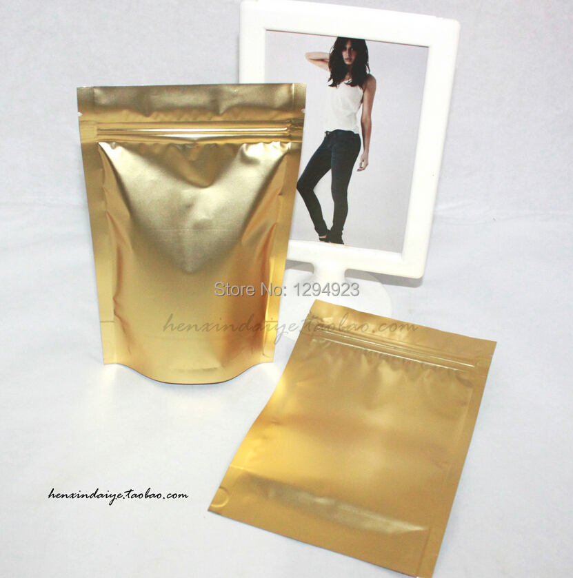 Matte Gold foil Stand Up Ziplock Bag,zip lock plastic bags food Aluminum foil Stand up Pouch food packaging bag(China (Mainland))