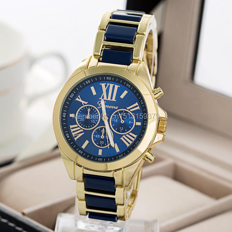 Relogios Masculino Feminino Geneva Luxury Brand 2015 New Vogue Women Watch Full Steel Gold Quartz Wrist Watch Men(China (Mainland))