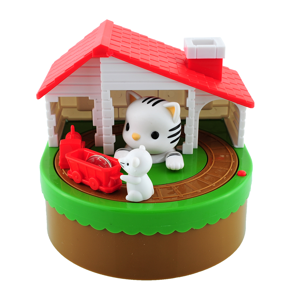 Itazura Automated Stealing Coin Cat Mouse Coins Penny Piggy Bank Saving Box Kid Child Present Gift(China (Mainland))