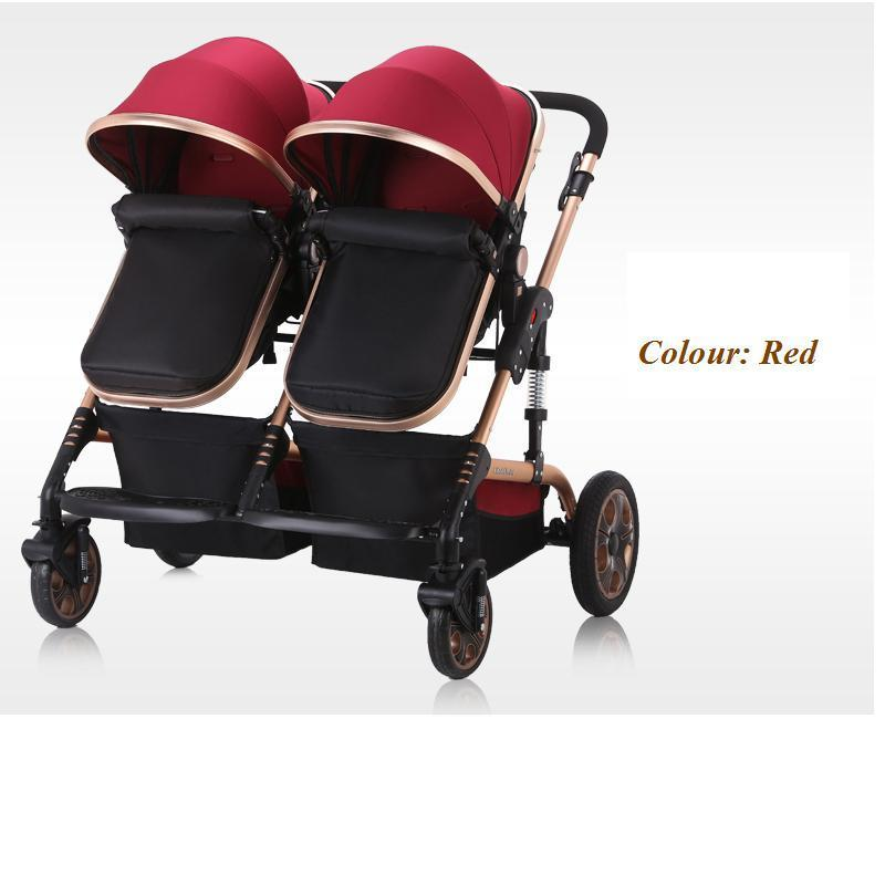 2016 New design high quality twins Luxury baby stroller , fashion twins , 3 colour four wheels(China (Mainland))