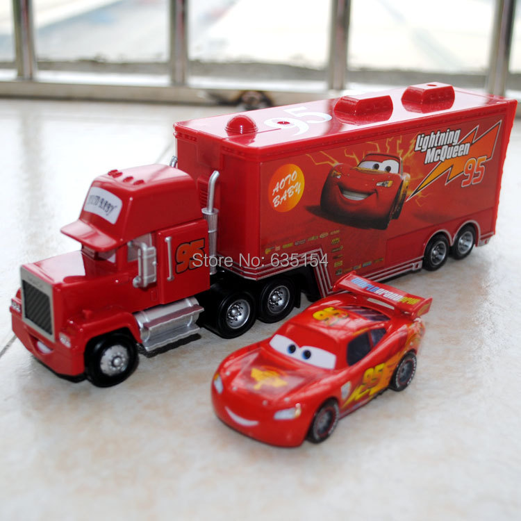 Brand New 2pcs/set 1/55 Scale Pixar Cars Toys #95 Mqueen And Mack Hauler Truck Diecast Metal Car Model Toy For Kid/Children/Gift<br><br>Aliexpress