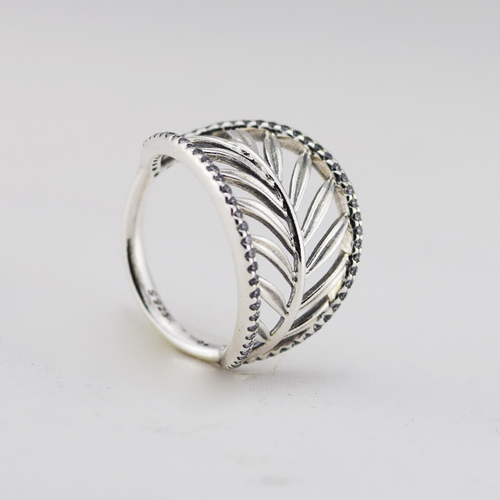 Summer Style Palm tree silver ring with cubic zirconia 100% Authentic Original 925 Sterling Silver Rings for Women Fine Jewelry(China (Mainland))