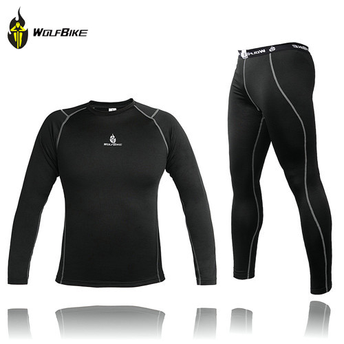 WOLFBIKE Men Thermal Fleece Base Layer Compression Clothing Under Wear Cycling Bike Long Sleeve Jersey Pant Winter Runing Tights(China (Mainland))