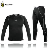 WOLFBIKE Men Thermal Fleece Base Layer Compression Clothing Under Wear Cycling Bike Long Sleeve Jersey Pant Winter Runing Tights