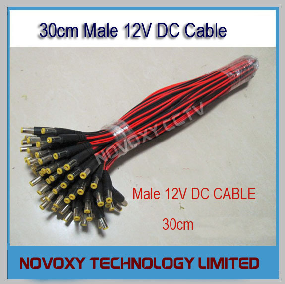 Free Shipping 100pcs DC12V Central Power Supply Cable Male Jack Plug Connector & CCTV Security Camera 12V DC Power Lead Pigtail(China (Mainland))