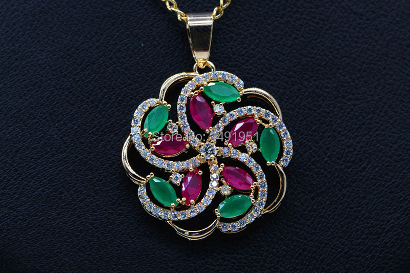 Hot Sale Fashion design hollow out eddy flowers 2 colors pendants Copper Alloy inlay Rubr & Emerald CZ jewelry for women(China (Mainland))