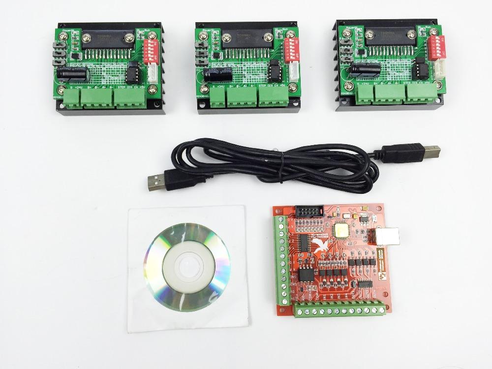 Фотография CNC Router mach3 USB 3 Axis Kit, 3pcs TB6560 1 Axis Driver Board + one mach3 4 Axis USB CNC Stepper Motor Controller card 100KHz