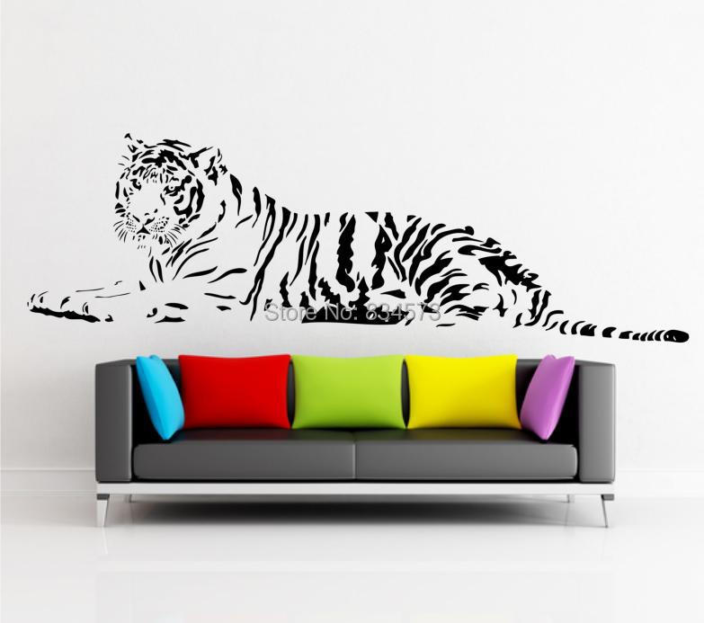 Hot Animal LAYING TIGER Silhouette Wall Art Stickers Decal DIY Home Decoration Wall Mural Removable Bedroom Sticker 45x150cm