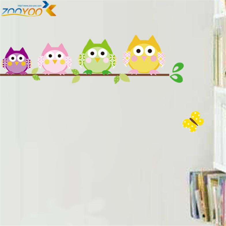 owl wall stickers for kids room baby room home decoration decors cartoon wall arts diy removable animal wall decals(China (Mainland))