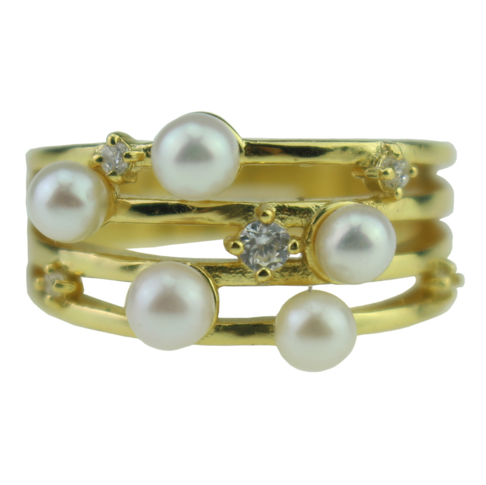 pearl bridal sets ring gold plated nightclubs