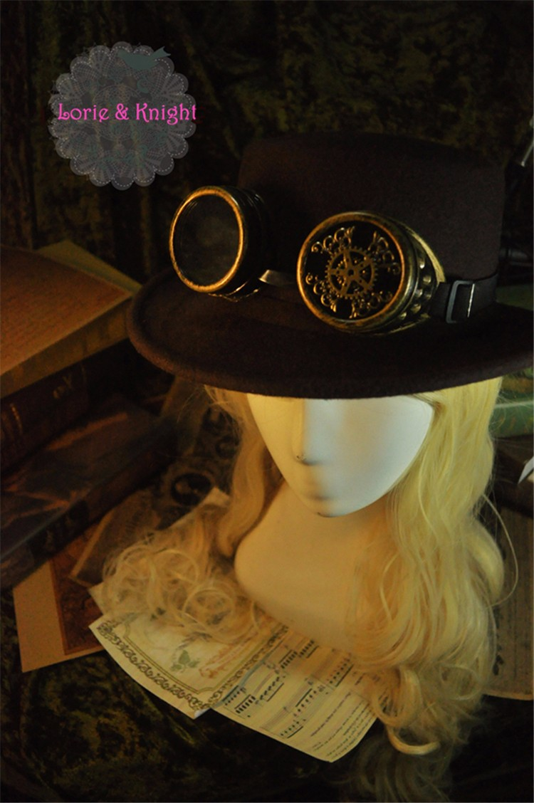 Vintage Wool Gear & Feather Victorian Steampunk Top Hat