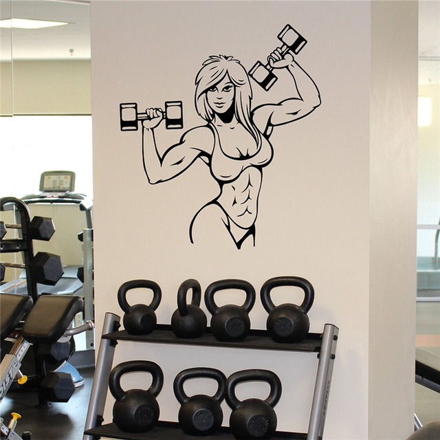 Female Muscles Wall Sticker Fitness Gym Sport Vinyl Sticker Home Wall Art Decor Ideas Interior Removable Design(China (Mainland))