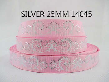"10Y14045 kerryribbon freeshipping 1"" silver grosgrain printed ribbon polyester diy headwear garment accessories ribbon"