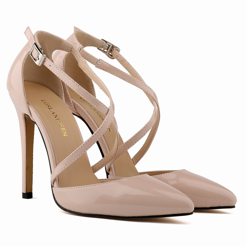 Thin High Heels 2016 Women Pumps Red Bottom Pointed Toe Patent Leather Thin Black Nude Sexy Women Ladies 11CM Shoes<br><br>Aliexpress