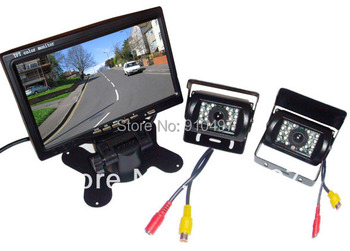 """7"""" LCD Car Monitor + 2 x IR night vision reverse camera rearview kit + free 10m cable for long truck"""