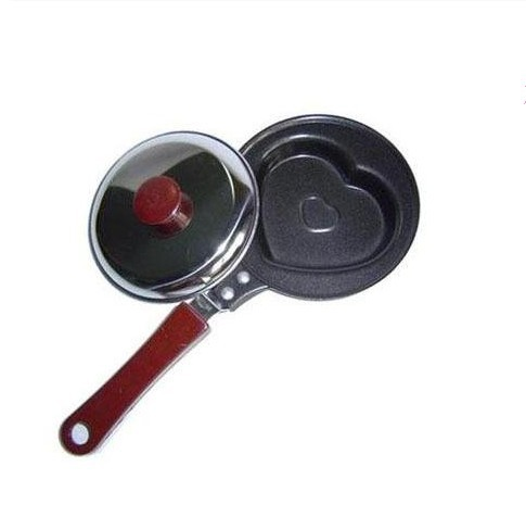 Free Shipping, Hot Sale Mini Lovely Heart-Shaped Egg Frying Pan Non-stick Pan With Cover, Drop Shipping, IC0006(China (Mainland))