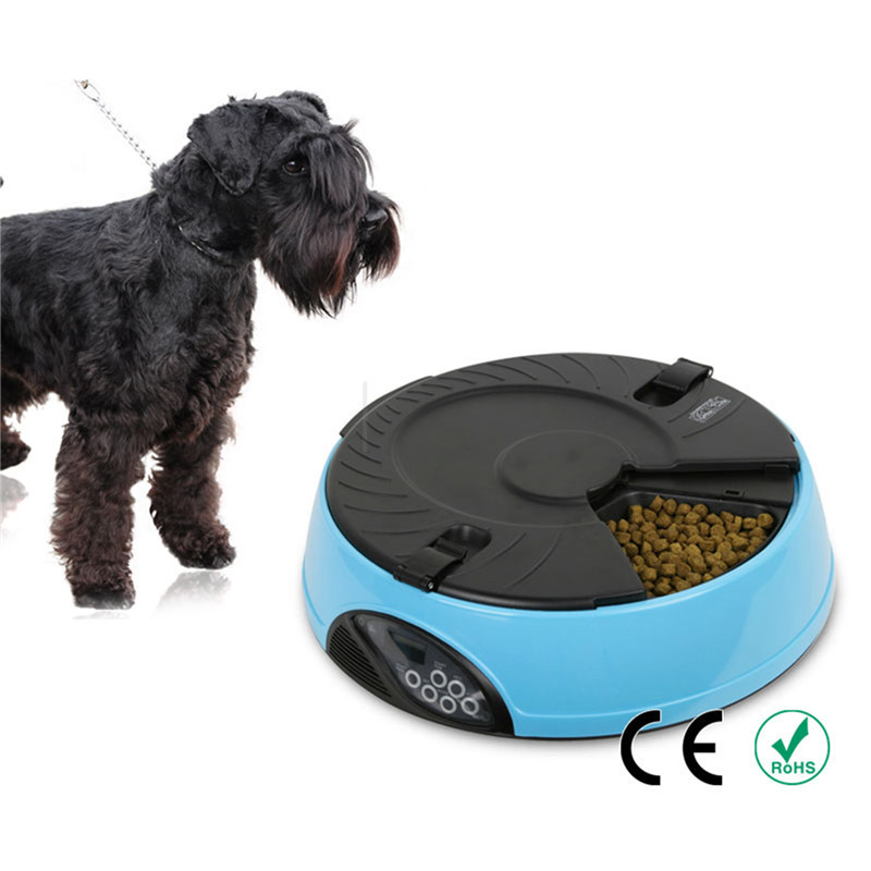 2016 Hot new 6 Meal/water 150g food LCD Digital Automatic Pet Dog Cat bird Feeder,Recorder Bowl Meal Dispenser CE red pink green(China (Mainland))