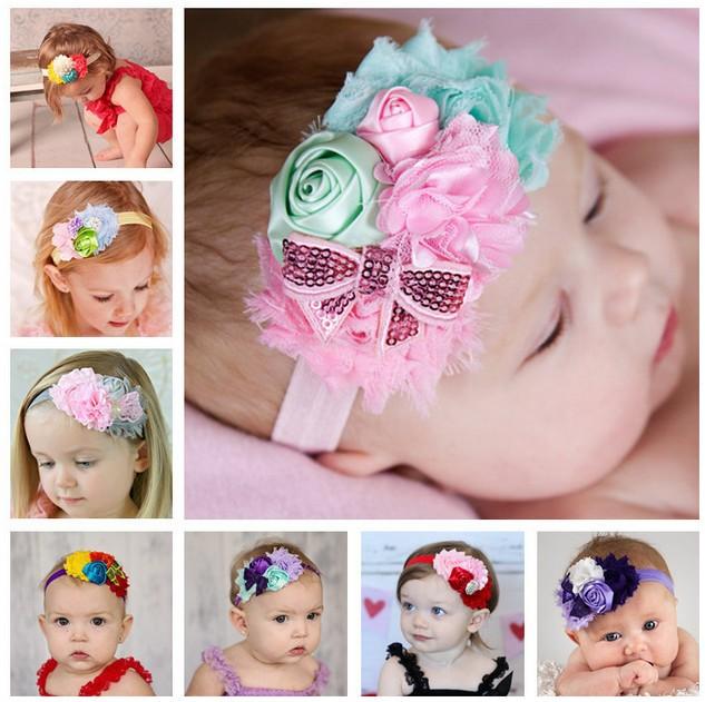 1 piece Baby Flower Headband Mix 4 Flower Pearl diamond Rose Flower baby hair band Elasticity Baby Girls hair Accessories W022(China (Mainland))
