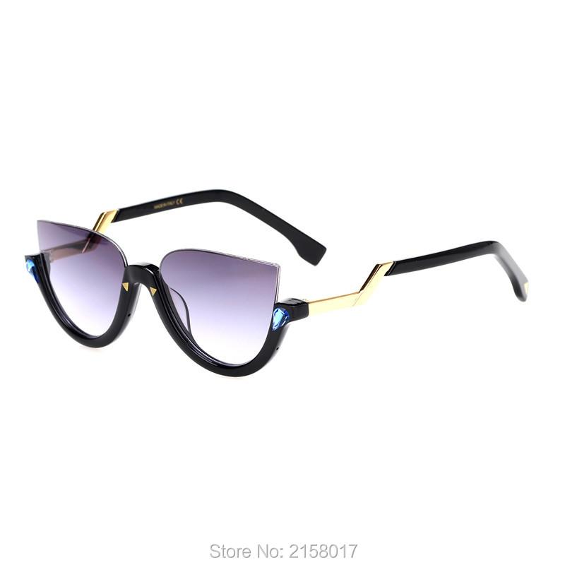 Фотография Luxury Brand Women Sunglasses 2016 New With Original Box Semi-Rimless Acetate Frame Cat Eye Style Oculos De Sol Feminino