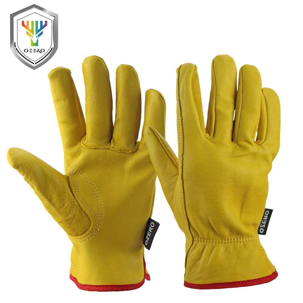 Leather work gloves china - New Men S Work Gloves Goat Leather Security Protection Safety Cutting Working Repairman Kevlar Racing Gloves For