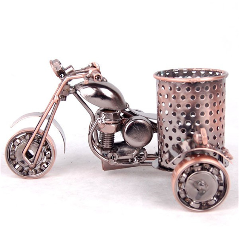 New Creative Motorcycle Metal Fashion Craft Pen Holder Barrel Container Office School Supplies Home Decor Birthday Wedding Gift(China (Mainland))