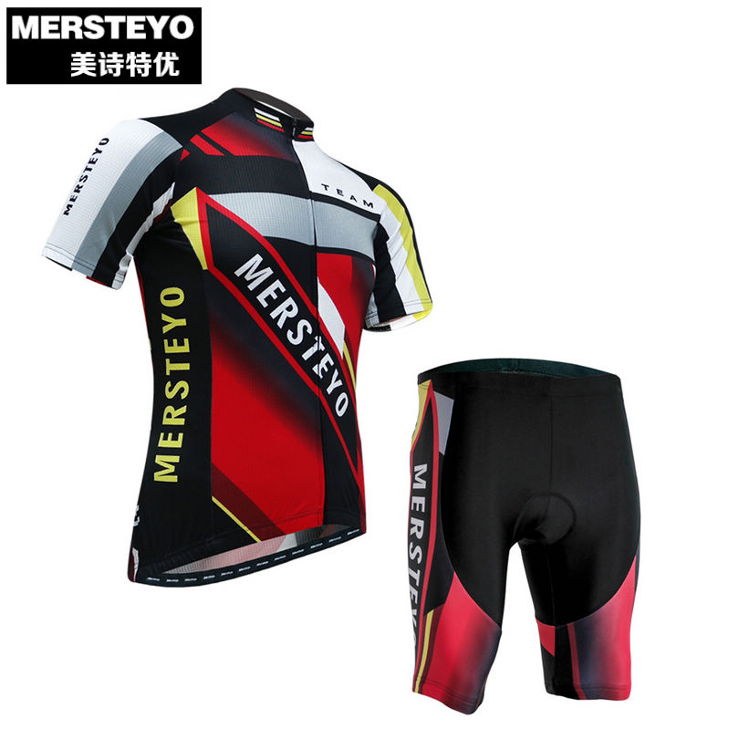 MERSTEYO Men's Summer Ropa Ciclismo Cycling Jersey Bike Clothing Bicycle Wear Short Sleeve Shorts Set