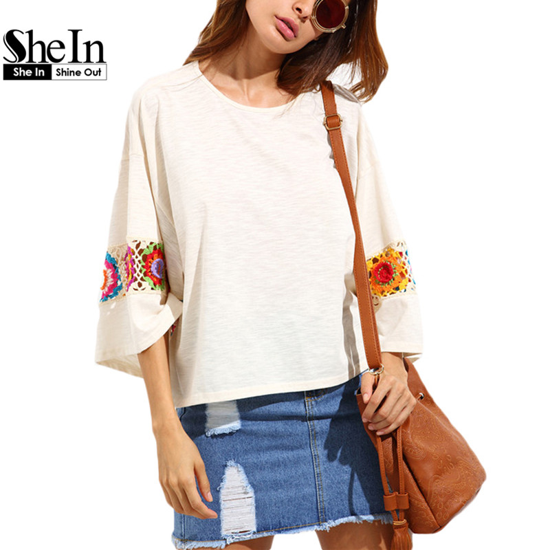 SheIn Woman T shirt Top 2016 Ladies Beige Crochet Decorated Three Quarter Length Sleeve Round Neck High-low T-shirt(China (Mainland))