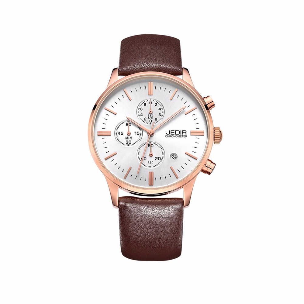 Jedir 2016 Chronograph Watches Men Brand Casual Sports Watch Display Auto Date Genuine Leather Strap Military Watch Waterproof