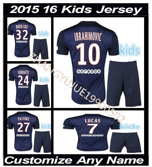 New DAVID LUIZ LUCAS Jersey kids 2015 2016 home Soccer Jersey IBRAHIMOVIC T SILVA 15 16 children jerseys kit boys CABAYE CAVANI(China (Mainland))