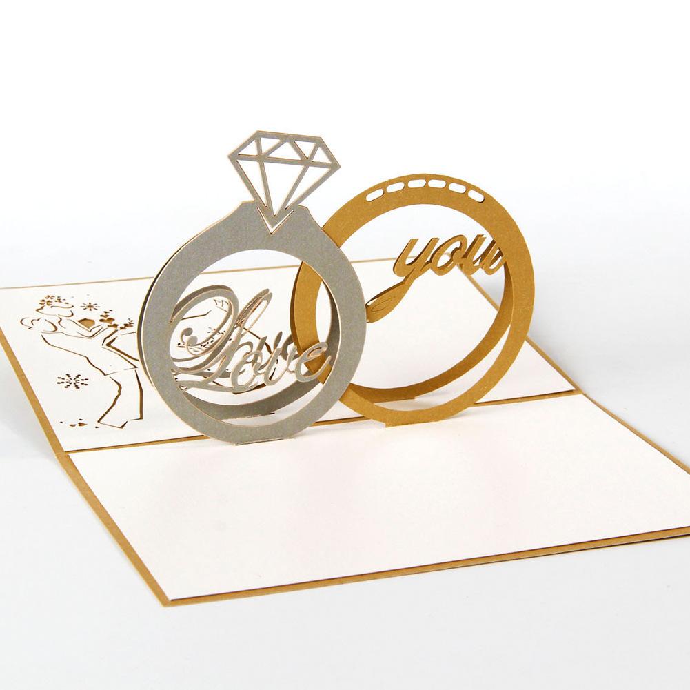 10 pçs/lote Anel de Diamante 3d Pop Up Cartões do Dia Dos Namorados Cartão Convites de Casamento de Corte A Laser(China (Mainland))