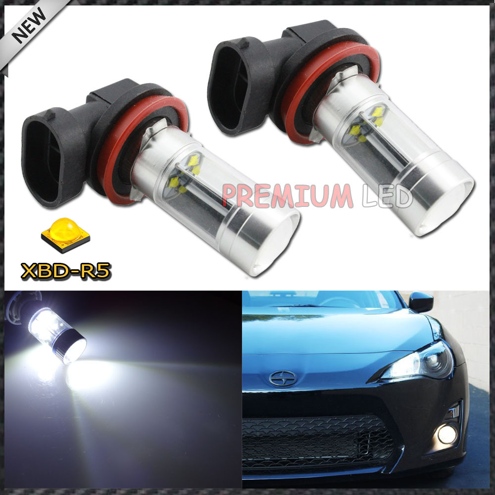 Newest design 2pcs/lot H8 White CREE High Power 40W LED Bulbs w/ Reflector Mirror Design Fog Lights(China (Mainland))