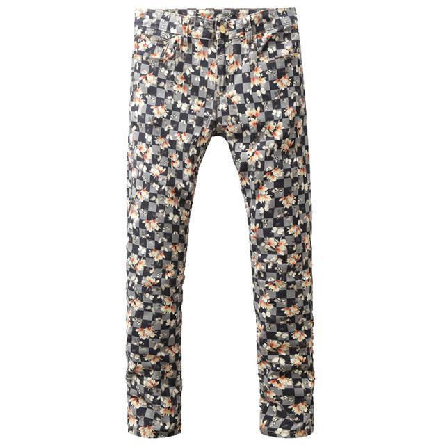 Мужская мода цветок плед печать джинсы мужской тонкий джинсовая длинные брюки