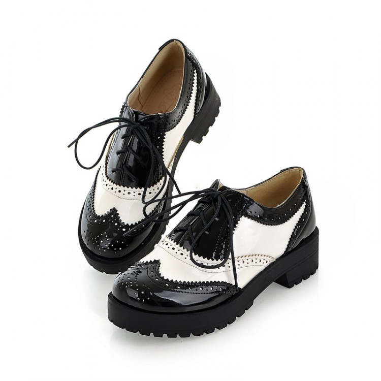 Size 34-43 New 2016 Vintage Black/White Round Toe Leather Oxfords Shoe Womens Ladies Lace Up ...