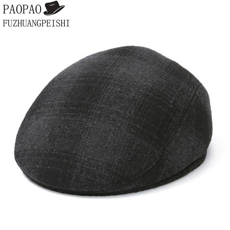 New Winter High Quality Middle-aged Elderly Men Hat Retro Wool Blend Plaid Newsboy Cap