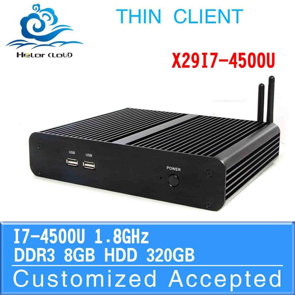 mini desktop computer thin client pc share desktop computer X29-I7 4500u 8GB RAM 320GB SSD support Windows 2003, Ubuntu,Debian(China (Mainland))