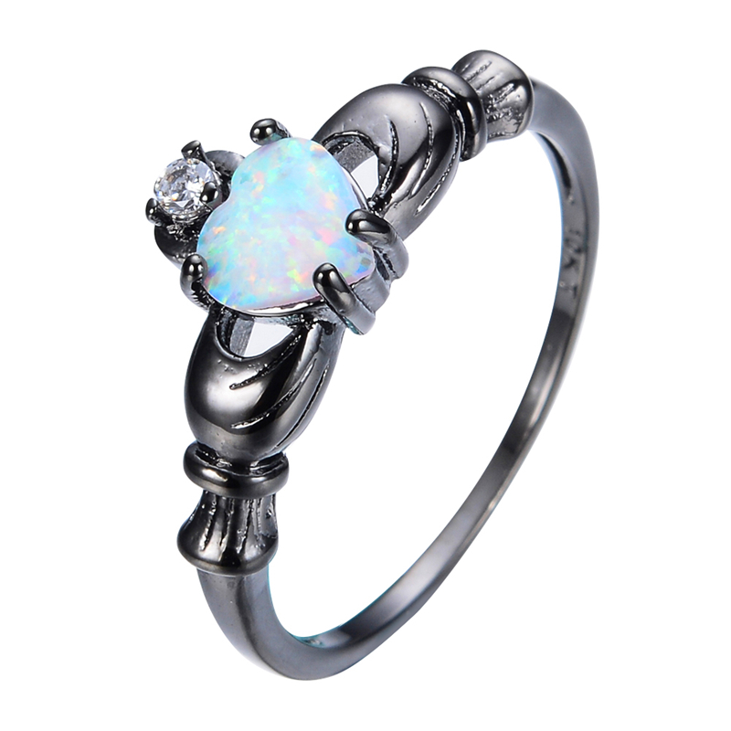 Elegant Heart Cut Rainbow Opal Claddagh Ring Fashion White CZ Wedding Jewelry Black Gold Filled Engagement Promise Rings RB0565(China (Mainland))
