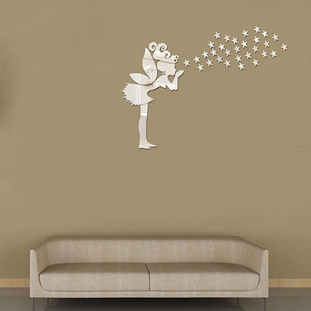 Wall Art Mirror Diy : Pcs angel fairy stars modern mirror stickers wall home