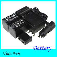 7.4V 2pcs Battery+Charger NP-FV70 NP FV70  Rechargeable Camera Battery For Sony