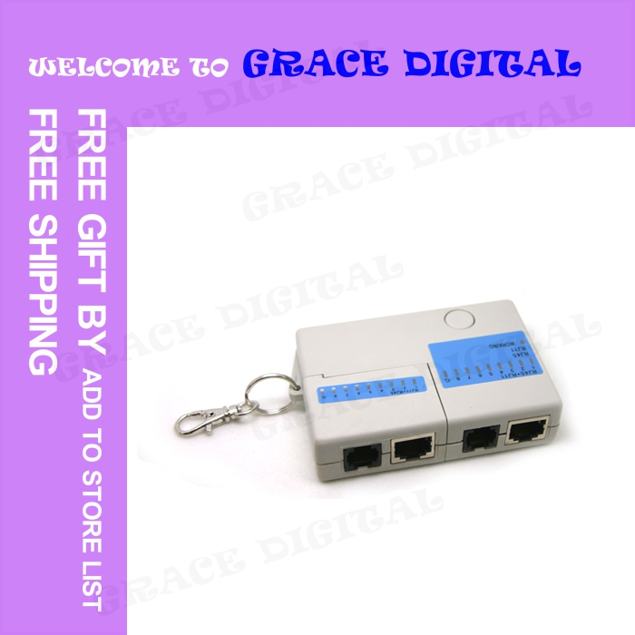 Hot 20PCS FREE High quality 9 LED RJ45 RJ-45 RJ11 Mini Cat5 Network LAN Cable Tester Tool with Key Ring 220 #BQT115<br><br>Aliexpress