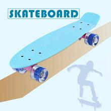 22 Inch Fish Skate Board Pastel Color Banana Board Mini Cruiser Long Skateboard Four-wheel Street Longboard LED Flashing Wheels(China (Mainland))