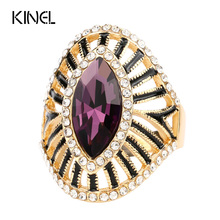 Buy Fashion Purple Crystal Glass Engagement Ring Black Enamel CZ Zircon Gold Color Rings Women Vintage Jewelry Wholesale for $1.33 in AliExpress store
