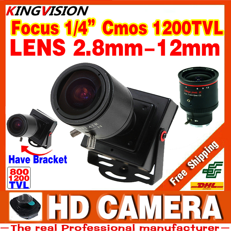 New Product Mini Manual focusing 2.8m-12mm 1/4CMOS 1200TVL Djustable Lens Color Video HD CCTV Security Surveillance Camera Metal(China (Mainland))