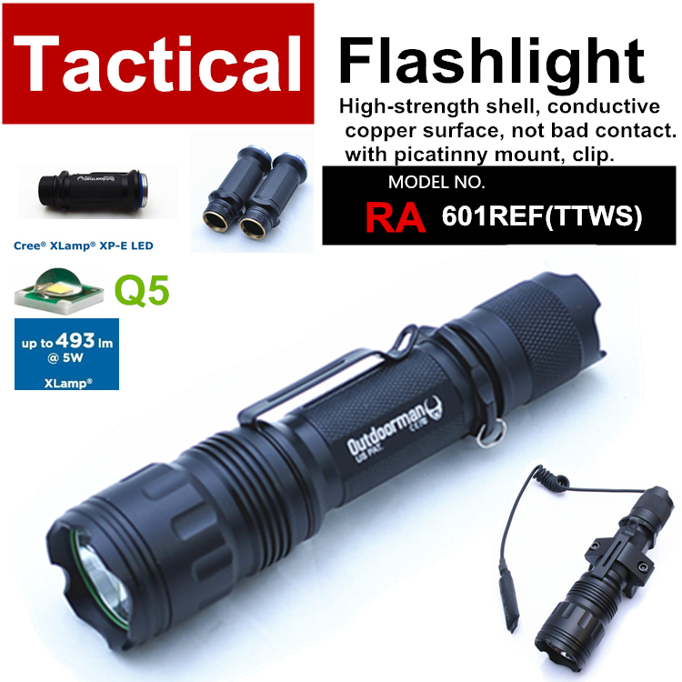 RA-601REF[TTWS] CREE Q5 custom mode torch Tactical Flashlight power 18650,with Rail Mount,Tail-wire Pressure Switch - QIHANG fashion shop store