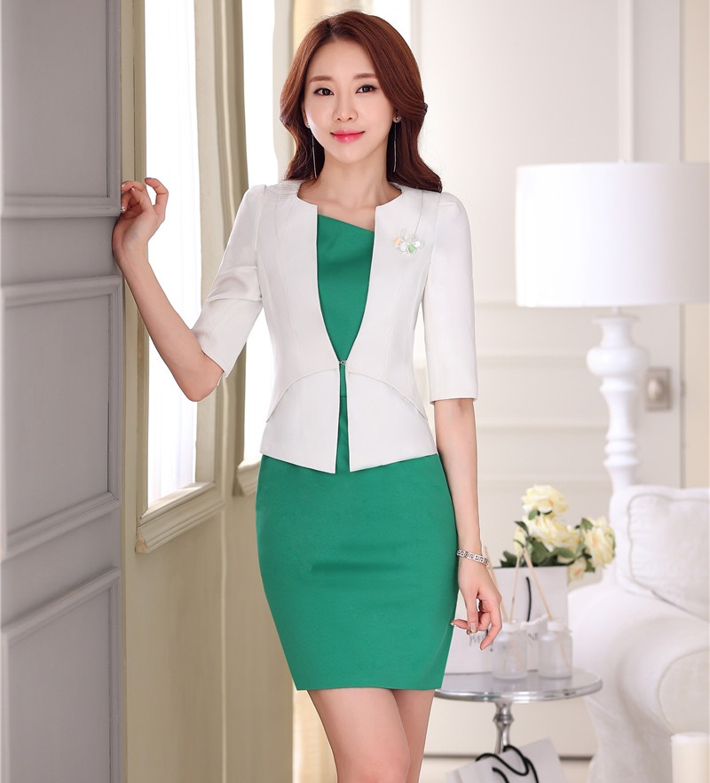 Formal OL Styles Spring Summer Professional White Business Women Uniforms Design Blazer Suits With Jackets And Dress Outfits Set