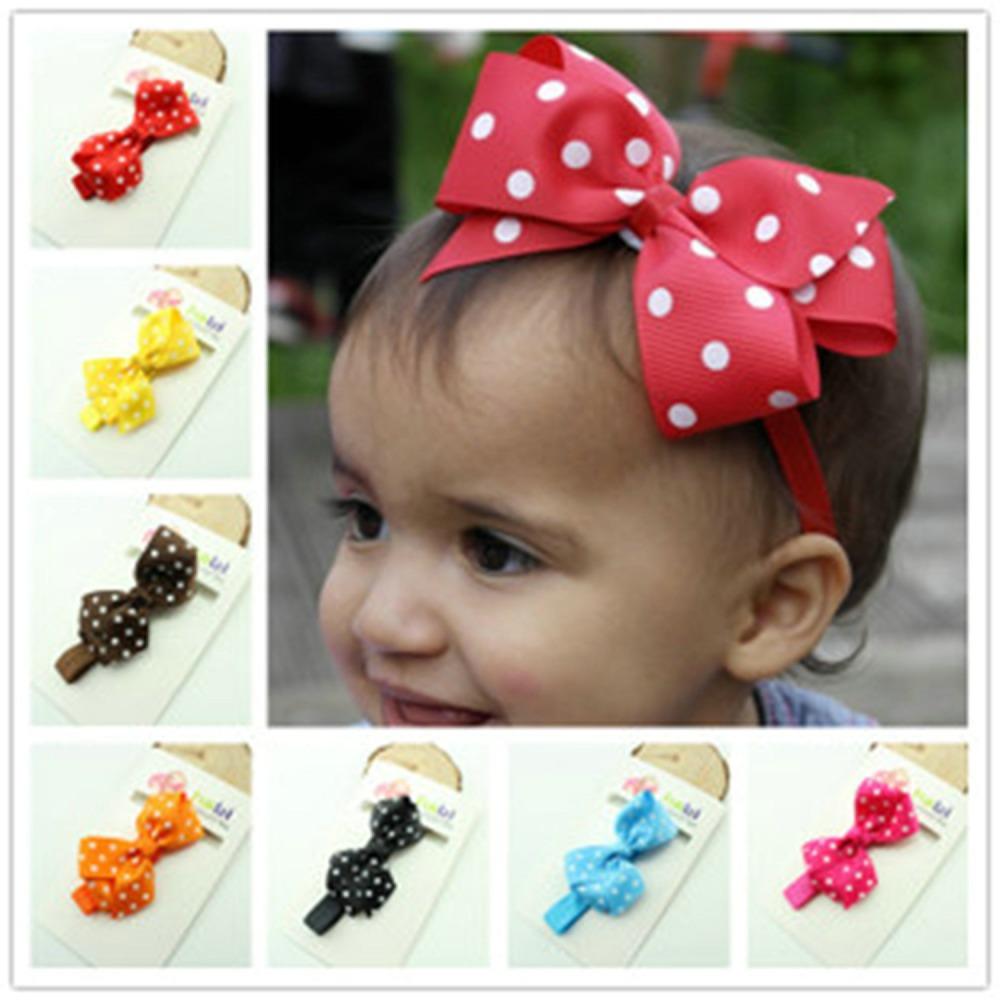 15 Colors Ribbon Polka Dot Hair Bows Headband Baby Girl Hair Accessories Children Hair Bow Elastic Infant Kids Hairband 2015(China (Mainland))