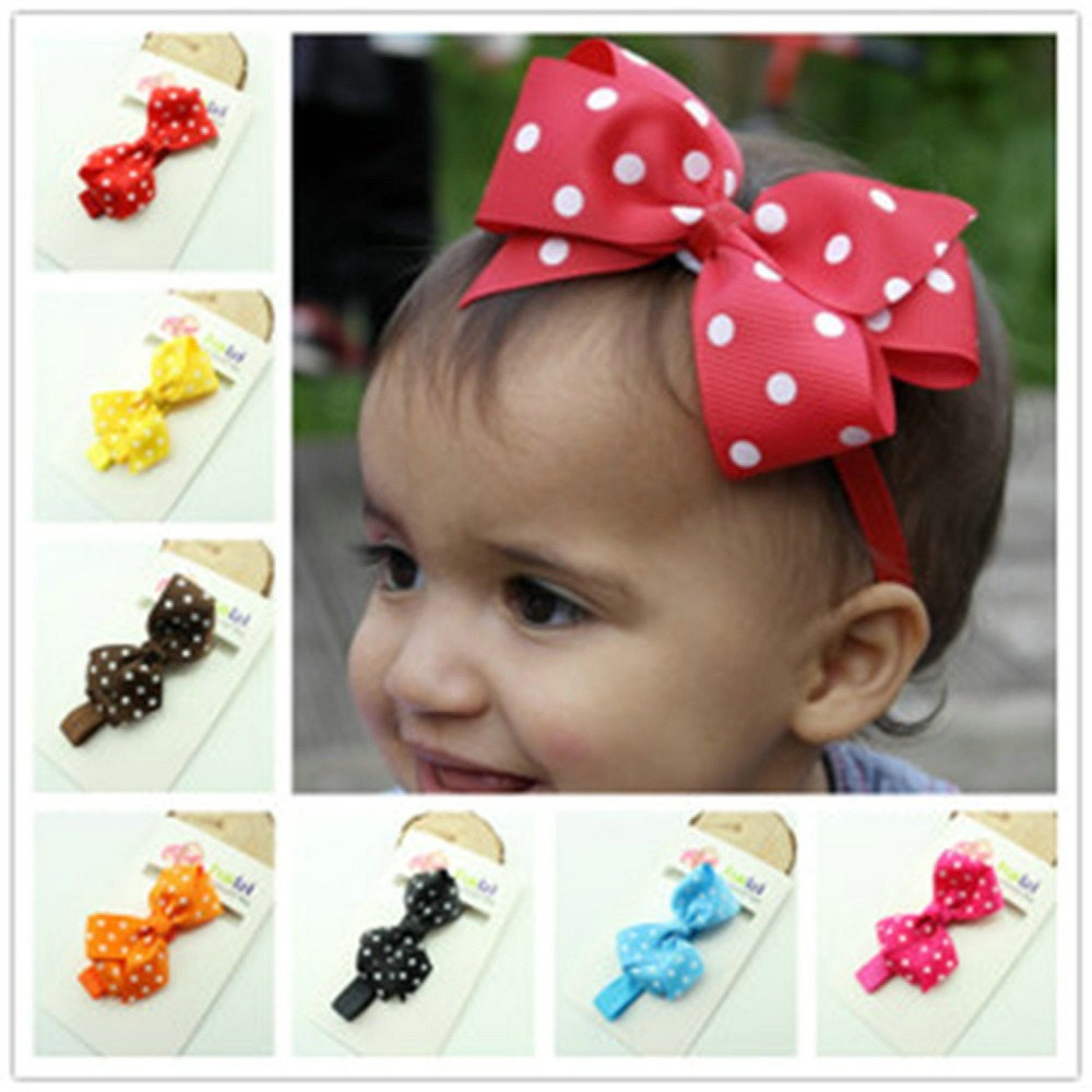 15 Colors Ribbon Polka Dot Bow Headband Baby Girl Headbands Solid Color Children Hair Bow Elastic Infant Kids Hairband(China (Mainland))