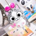 FFFAS Cute Kawaii Cheese Cat bear Panda Cartoon Retractable MP3 MP4 Earphone for Samsung HTC Xiaomi
