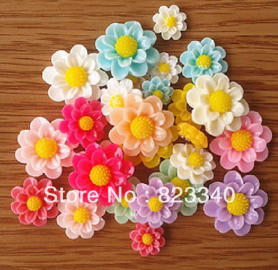 Free Shipping 50 Resin Flower Flatback Cabochon Scrapbook Fit Embellishments Mixed Size/Color(China (Mainland))