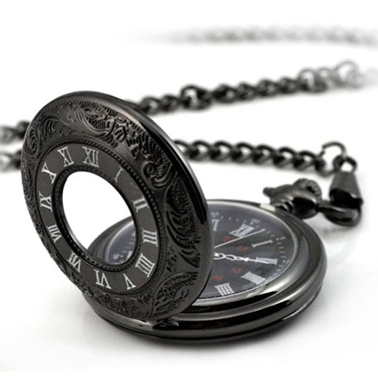 2016 New Outdoor Watch Vintage Unique Large Black Roma Number Pocket Fob Watch Pendent Necklace Steampunk Relogio De Bolso(China (Mainland))