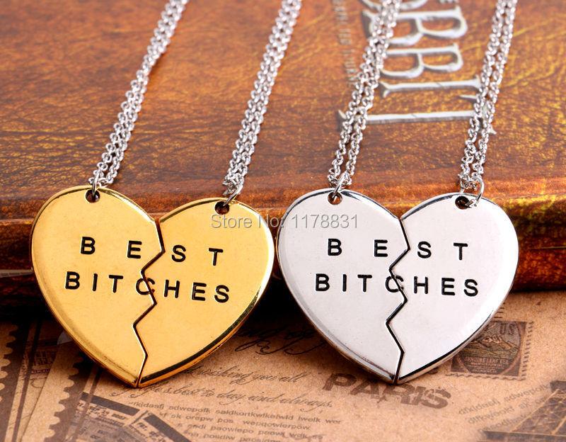 "Гаджет  2015 New Style Friendship Jewelry Fashion Broken Heart Parts 2"" Best Bitches"" Necklaces & Pendants For Best Friend None Ювелирные изделия и часы"